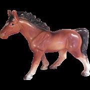 Brown Porcelain Horse Japan