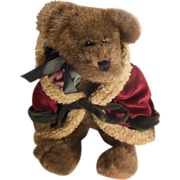 SALE The Boyd's Collection Ltd.  J B Bean Plush Dark Brown Bear Red Velvet Trimmed ...