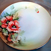 Artist Signed Hand Painted Nippon Floral Poppy Plate Green Mark