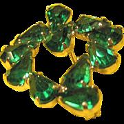 Emerald Colored Rhinestones and Silver Tone Leaf Pin