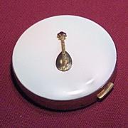 SALE Beautiful Unused DuBarry White Enamel Mandolin Powder Compact