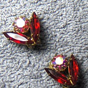 SALE Beautiful Red and Aurora Borealis Austrian Crystal Clip On Earrings