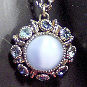 SALE Signed Avon Moon Magic Pale Blue Stone Pendant