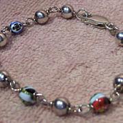 Lovely Sterling Bead and Art Glass Bead Bracelet