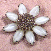 Gold Tone and White Glass Flower Pin