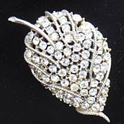 Large Clear Rhinestone Leaf Pin