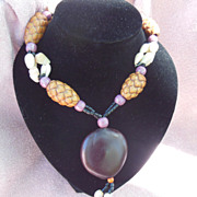 Exotic Brown and Black Bead and Shell Necklace