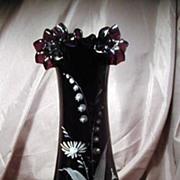 Purple Amethyst Victorian Era Ruffled Edge Hand Painted Vase