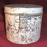 SALE Early Metal Sugar Tin or Canister with White Paint