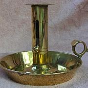 19th Century Pan Base Brass Push Up Chamberstick with thumb Grip