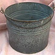 Mottled Gray Graniteware Bail Handle Pail or Bucket