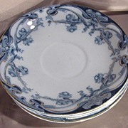 Royal Staffordshire Pottery Flow Blue Iris Pattern Saucer