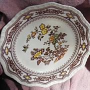 "Mason's Manchu Pattern Brown and Multicolor 8"" Scalloped Edge Salad Plate"