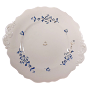 19th Century Early English Sprig Embossed Double Handled Cake Plate with Blue Flowers and Leav