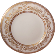 """White and Gold Encrusted Brownfields China Tiffany & Co. 9"""" Plate"""