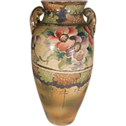 Hand Painted Floral Moriage Vase