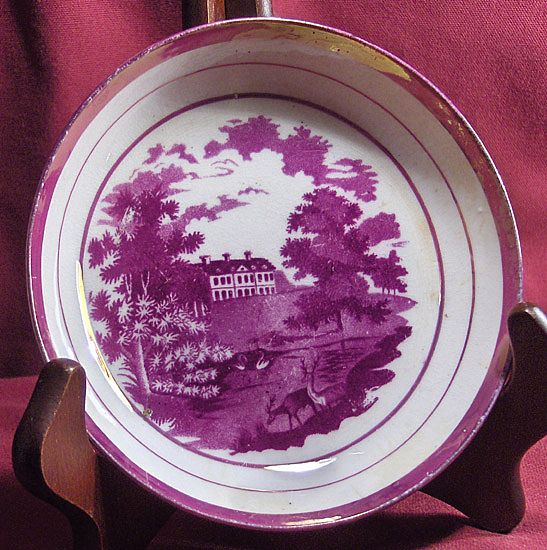 Early 19th Century Pink Luster Shallow Bowl or Saucer