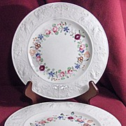 Pair of Embossed Plates with Pheasants and Hand Painted Flowers