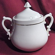 SALE White Ironstone Sugar Bowl with Acorn Finial