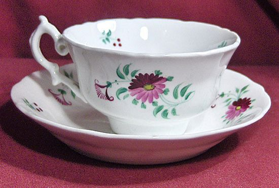 19th Century Early English Sprig Cup and Saucer with Purple and Lavender Flowers