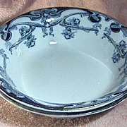 Royal Staffordshire Pottery Flow Blue Iris Pattern Cereal Bowl