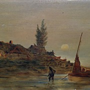 Nice Old Oil on Board – A Dark Beach Scene