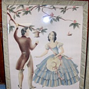 Pair of 1940's Romantic Couples Prints Done in Pastel Colors