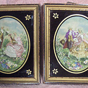 SALE Pair of 1930's Needle Painted Prints
