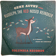 SALE Vintage 1949 78 RPM Vinyl Children's Record Rudolph the Red-Nosed Reindeer Sung by Gene