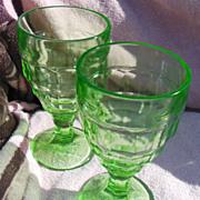 Pair of Green Depression Era Block Optic Footed Tumblers