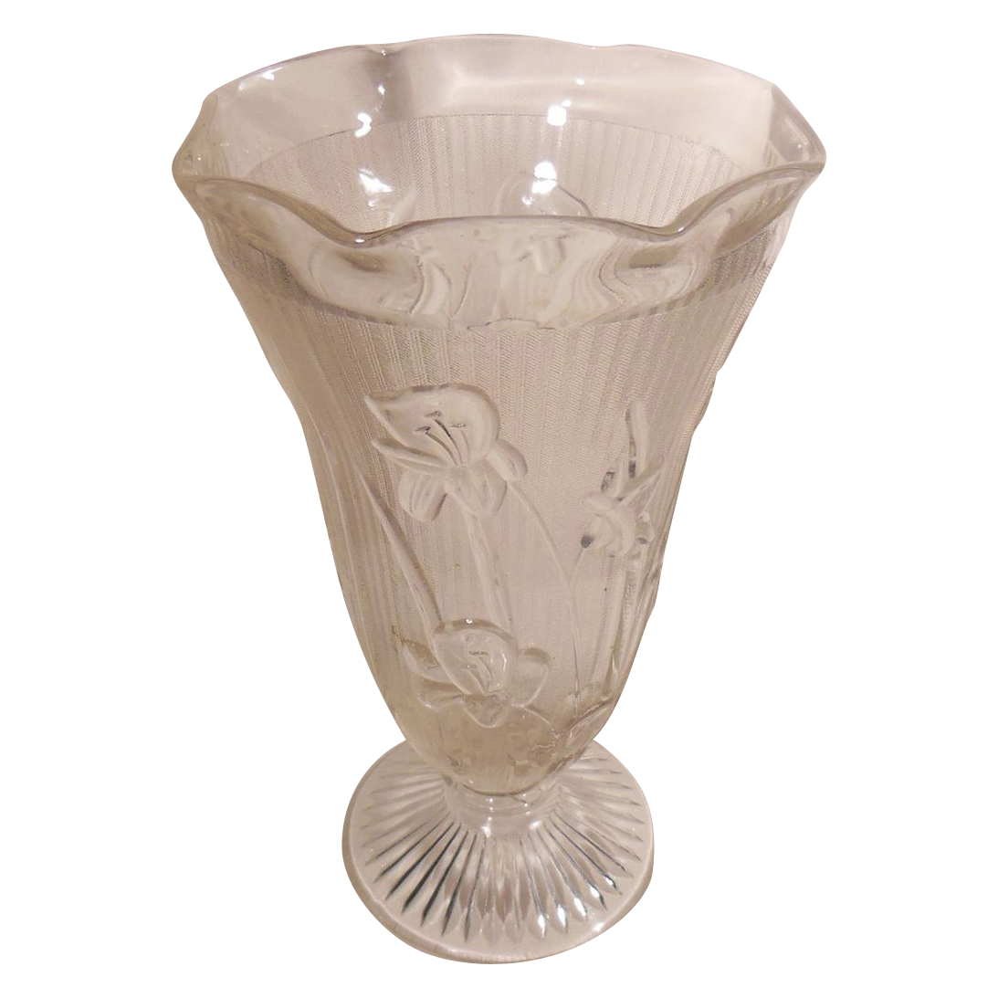 Jeannette Clear Glass Footed and Ruffle Edged Vase Iris and Herringbone Pattern