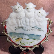SALE Westmoreland Pan American Expo Milk Glass Plate Three Cats