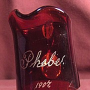 1907 Ruby Flash Glass Souvenir Pitcher or Creamer Engraved Phebe
