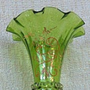 Tall Green Victorian Era Ruffled Edge Hand Painted Trumpet Vase