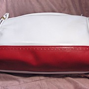 Attractive Red & White Purse or Shoulder Bag Made in the USA