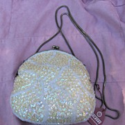 SALE Walborg Gold Sequined and White Beaded Evening Shoulder Bag