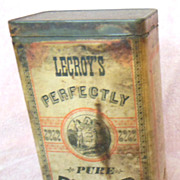 Early Advertising LeCroy's Pepper Spice Tin or Can with Paper Label