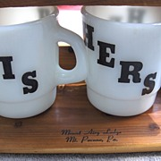 His and Hers Stackable Milk Glass Mugs with Hutch or Shelf