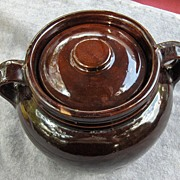 Nice Old Brown Glaze Two Handled USA Bean Pot