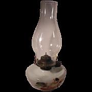 White Milk Glass Hand Painted Oil Lamp Eagle Burner