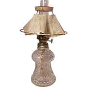 Miniature Clear Glass Bead Swirl P&A Mfg. Co. Acorn Table Top Oil Lamp with Paper Shade