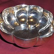 Large Elegant Sterling Silver Fluted Footed Bowl