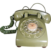 Vintage Avocado Green or Olive Green Colored Western Electric Rotary Dial Telephone 1960's