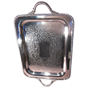 Medium Sized Canterbury Silver Plate Serving Tray Heavily Chased