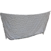 SALE Vintage White Chenille Bedspread Wedding Ring Pattern