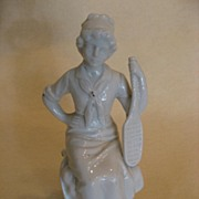 SOLD Ceramic Lady tennis Player, 1890's