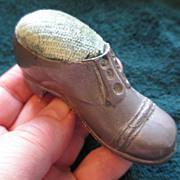 Man's Shoe Figural Pin Cushion - 1930's