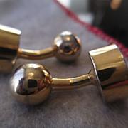SALE Heavy Gold Plate Metal Dumbbell Cufflinks