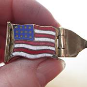 American Flag Clip - Enamel on Brass - Vintage
