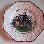 Staffordshire Child's Plate - Abstinence Theme - C1850